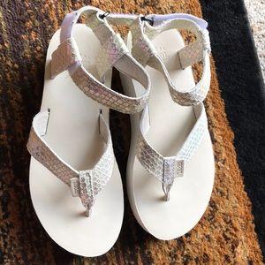 Teva Shoes - TEVA Flatform Iridescent/off white flip flops.